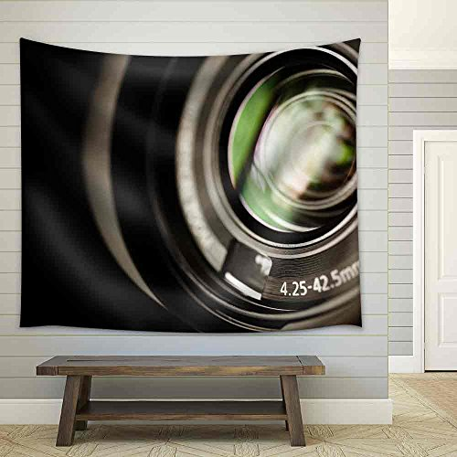 Professional High Definition Camcorder in Close Up Selective Focus Shallow Depth of Field Fabric Wall Tapestry