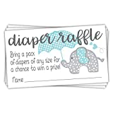 Blue Elephant Diaper Raffle Tickets (50 Count) - Boy Baby Shower Game