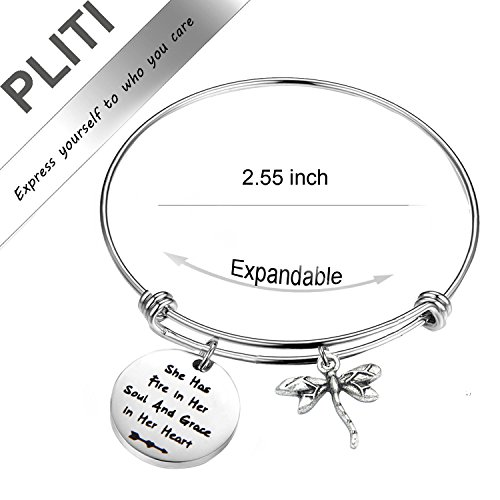 PLITI Inspirational Jewelry Graduation Gift She Has Fire in Her Soul and Grace in Her Heart Bracelet with Dragonfly Charm Motivational Faith Gift for Her (She has fire in Soul) by PLITI (Image #1)