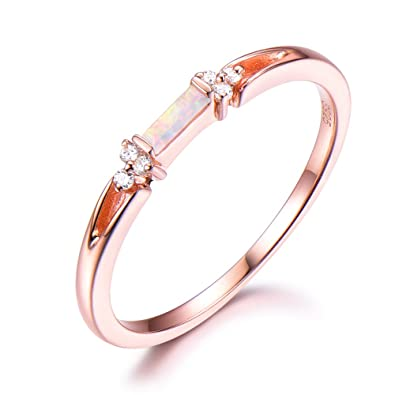 Opal Wedding Band 925 Sterling Silver Rose Gold Plated Cz Cubic Zirconia Stacking Ring Unique Baguette Amazon Com