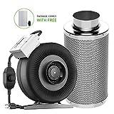 "VIVOSUN 4 inch 203 CFM Inline Duct Fan with 4""x 14"" Carbon Filter"