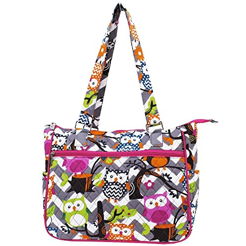 Ngil Quilted Cotton Shoulder Bag (Chevron Owl Grey Hot ()
