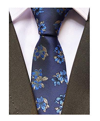 - Men's Silk Slim Ties Navy Blue White Repp Stylish Formal Necktie Valentine's day