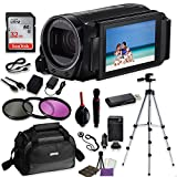 Canon VIXIA HF R70 Camcorder Video Professional Bundle with Sandisk 32 GB SD Memory Card + Filters + Canon Case + Accessory Bundle