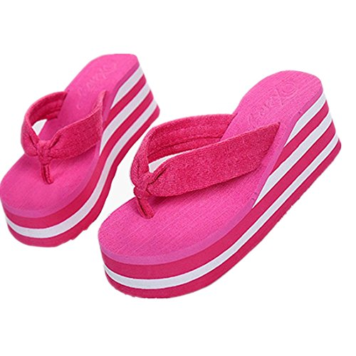 Pink Wedge Flip Flop (Voberry® Women Sandal Platform Wedges Flip Flops beach Sandal Thong (8, hot pink)