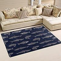 WOZO Cartoon Shark Fish Area Rug Rugs Non-Slip Floor Mat Doormats Living Room Bedroom 60 x 39 inches