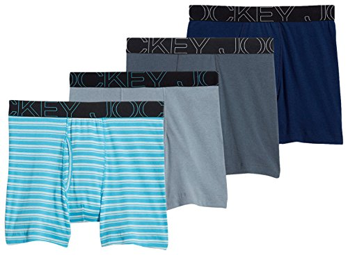 Jockey Men's Active Blend Boxer Brief 4-Pack Stripe/Just Past Midnight/Silver Line Blue/Shadow - New Guide Mens Look Size