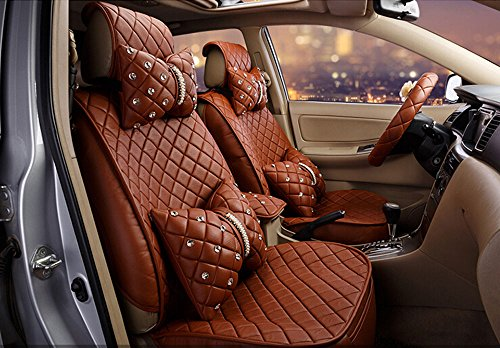 18pc superior quality luxury coffee Seat Covers imitation leather Seating Universal Full Set car seat cover Easy to install Fit Most Car by Maimai88