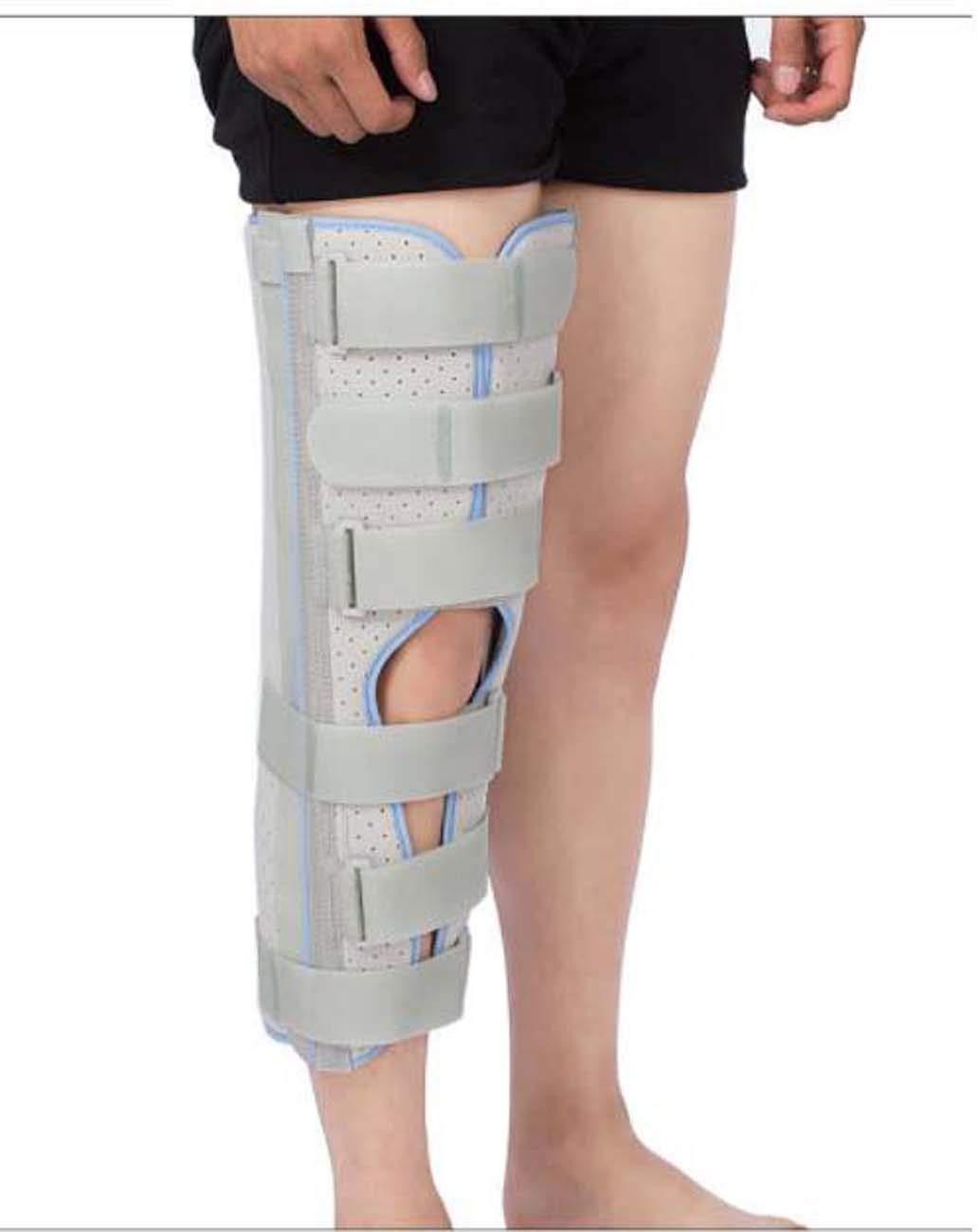足膝サポートブーツ、靭帯ひずみ固定副木ロングレッグプロテクターユニセックス大人用 (Color : Grayupgradebreathable, Size : L) Grayupgradebreathable Large