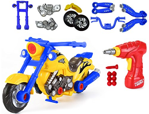 CoolToys Custom Take-A-Part Motorcycle Playset – Motorcycle with Electric Play Drill and Modification - Flash Version Yellow