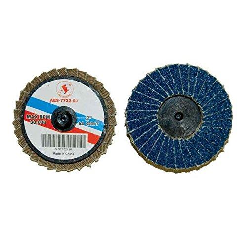 AES Industries 7722-80 2 Blue Zirconia Rolok Flap Discs Medium 12 Pack 80 Grit