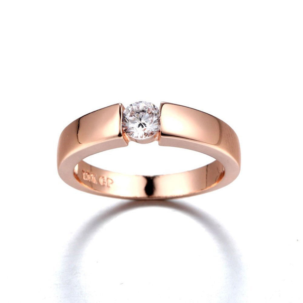 HUAMING Couple Rings Simple Classic Single Diamond Wedding Ring Knuckle Jewelery High Polished Ring Wedding Party Accessories Valentine's Day Present (Rose Gold, 7)