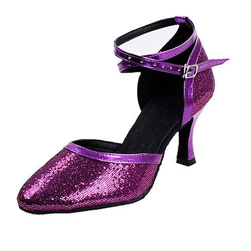 de Tacón Q Hebillas Mujer T Lentejuelas Swing T Práctica Latinas Rosa Púrpura Tacón Plata Rendimiento Hebilla Interior Claro Stiletto Sandalias de Aguja Dorado Jazz Tango de Rosado Salsa Pqqv5w