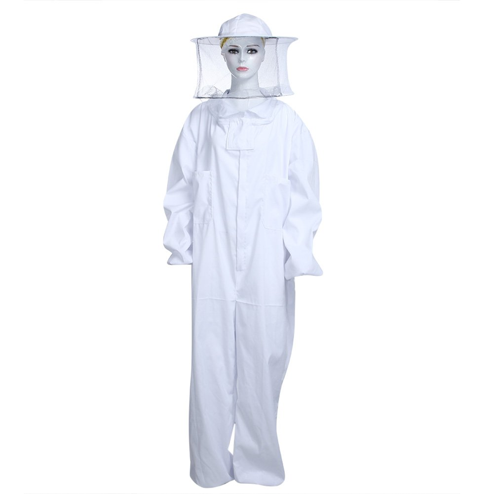 Vipeco Professional Large Body Beekeeping Bee Keeping Suit with Veil Hood White