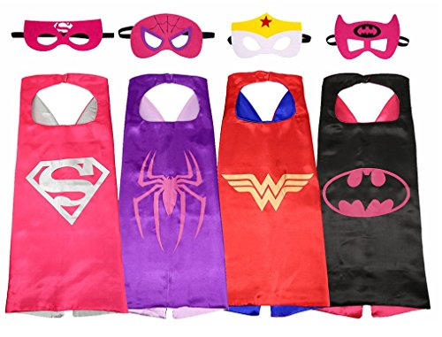 Zevain Cartoon Hero Dress Up Costumes Capes and Masks For Kids (4 In Pack) -