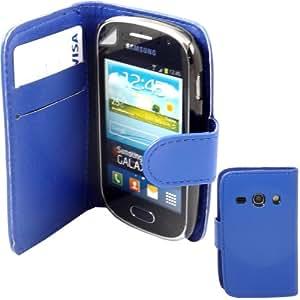 Tarjeta De Crédito Capirotazo Caja Cubierta Y De Pantalla Para Samsung Galaxy Fame S6810 / Blue