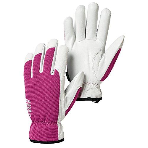 Hestra Garden Gloves: Womens Kobalt Leather Work Gloves, Fuchsia, 6