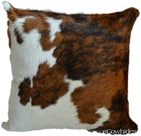 ecowhides Cowhide Pillow Case, 15 x 15 Tricolor Genuine Leather Cowskin Throw Pillow Cover, Tricolor One Sided, Case Only
