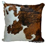 "ecowhides Cowhide Pillow Case, 15"" x 15"" Tricolor Genuine Leather Cowskin Throw Pillow Cover, Tricolor (One Sided, Case Only)"