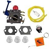 HURI Carburetor with Gasket Fuel Filter Primer Bulb Fuel Line for Zama C1Q-W40A Husqvarna 545081848 128C 128CD 128L 128LD 128LDX 128R Trimmer Brushcutter