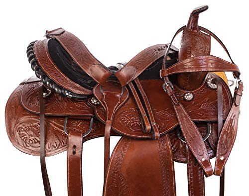 AceRugs Western Parade Show Pleasure Trail Horse Leather Saddle TACK Set 15 16 17 18 (16) - Leather Trail Saddle