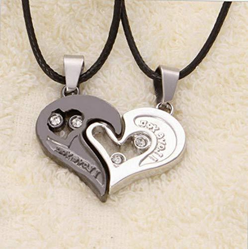 Mikash 2PCS Fashion Couple Puzzle BFF Love Heart Pendant Necklace Valentines Day Gift | Model NCKLCS - 40010 | 2pcs I Love You -1
