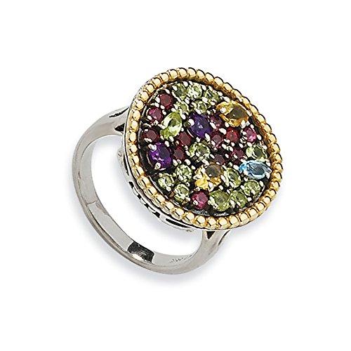Tw Multi Gemstone Ring (Sterling Silver W/14k 1.88tw Multi Gemstone Ring, Size 8)
