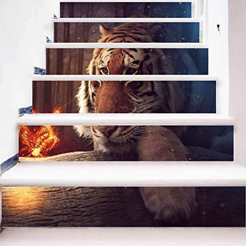 Tiger Pattern Stair Stickers Decals Stair Decals Decorative Removable Self-adhesive Staircase Stickers for Home Decor 10018cm6 (Plastic Mural Tiger)