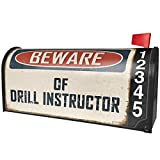 NEONBLOND Beware Of Drill Instructor Vintage Funny Sign Magnetic Mailbox Cover Custom Numbers
