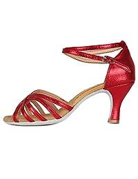 HROYL Women Latin Dance Shoes Glitter Salsa Dancing Shoes MF18106
