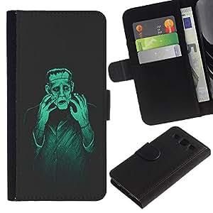 """SAMSUNG Galaxy S3 III / i9300 / i747 , la tarjeta de Crédito Slots PU Funda de cuero Monedero caso cubierta de piel ("""" Man Monster Creation Mad Genius Art Ai Robot"""")"""