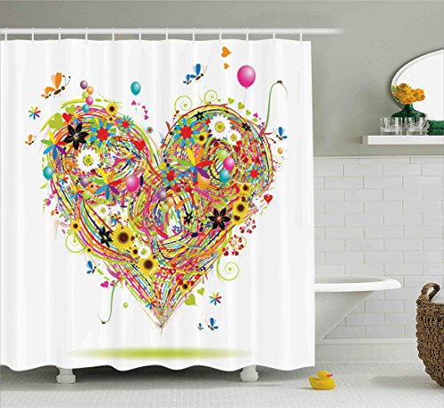 Decorations Hearts Flower & Balloon Heart Daisies Butterflies Sunflowers Ladybugs Colorful Grass Floral Bathroom Multicolor Print Polyester Fabric Shower Curtain, Green Pink Purple Blue White