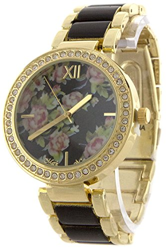 bejewled-jewellery-pave-edge-floral-face-with-colored-metal-band-analog-watch
