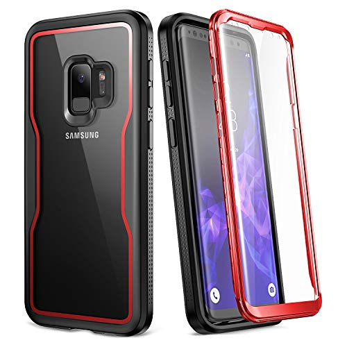 (YOUMAKER Crystal Clear Case for Galaxy S9 5.8 inch, Full Body with Built-in Screen Protector Heavy Duty Protection Slim Fit Shockproof Rugged Cover for Samsung Galaxy S9 5.8 inch (2018) - Red/Black)