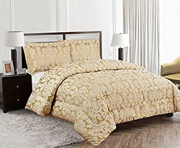 Double, Diana Beige Luxurious Diana BEIGE Quality Beddings 3 Piece Heavy Jacquard Quilted Bedspread Comforter Throw Set With Pillow Cases