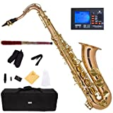 Mendini by Cecilio MTS-30L+92D Rose Gold Brass Intermediate to Advanced B Flat Tenor Saxophone with Tuner, Case, Mouthpiece, 10 Reeds and More