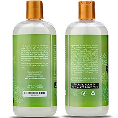 Kids Bubble Bath Tear Free - Hypoallergenic Bubble Bath for Women & Kids to Soothe & Relax. Sulfate Free Bubble Bath- 16.9 oz Coconut & Lime Bubble Bath for Sensitive Skin!