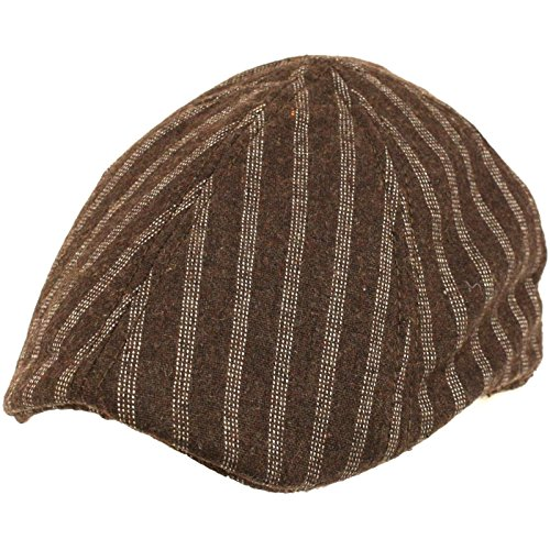 Wool Pinstripe 6 Panel Duck Bill Ivy Cap Hat - Pinstripe Wool Hat