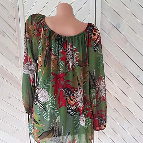 Pull Imprim Longues Femme Tops Manches paule Floral Chemise Crop Chemisier Green Sexy Size Bringbring Plus H1WRv4Uq