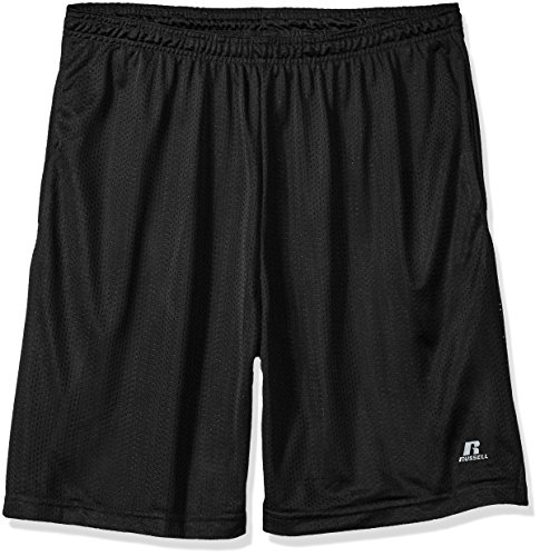Russell Athletic Men's Big and Tall Mesh Shorts with Pockets, Black, 2X
