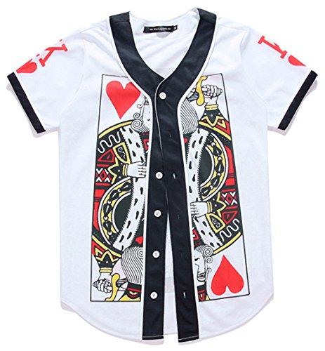 HOP FASHION Youth Unisex Boy Girl Baseball Jersey Short Sleeve 3D Poke King Of Heart Print Dance Team Uniform Tops Shirt - Baseball Jersey Boy