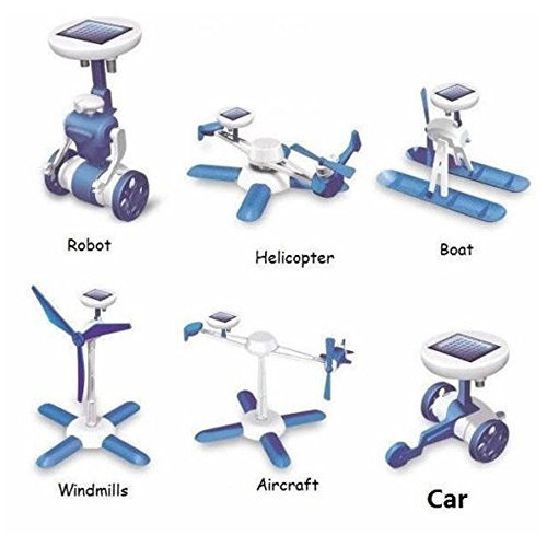 Mini Solar Robot (Kasstino 6 in1 Solar Kit Educational Robotics 6 Toys Car Plane Boat Windmill AirPlane DIY)