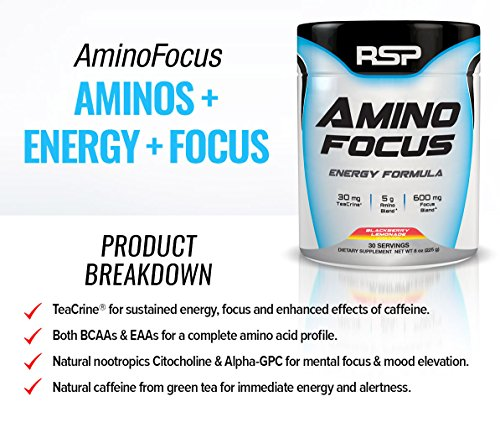 RSP AminoFocus Energy & Focus Formula, BCAA Powder with TeaCrine, Alpha GPC and Caffeine for Building Lean Muscle and Laser Focus, All Natural Flavors & Colors