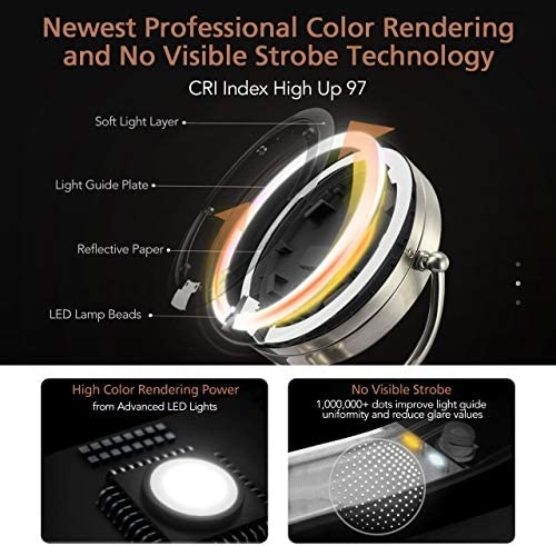 "Professional 8.5"" Lighted Makeup Mirror, 10X Magnifying Vanity Mirror with 32 Medical LED Lights, Senior Pearl Nickel Cosmetic Mirror,Brightness Adjustable(0-1100Lux) Desk Lamp Night Light Alternative"