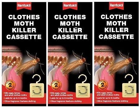 Rentokill 3 X Rentokil Moth Killer Hanging Unit Cassette Twin Pack Protects Clothes Citrus