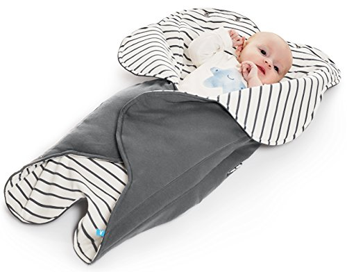 Wallaboo Baby Blanket Fleur, Supersoft 100% Cotton, Newborn, For Pram, Moses Basket or Crib and Travel, Receiving Blanket in Flower shape. Size 34 x 34inch, Color: Grey, Striped grey ()