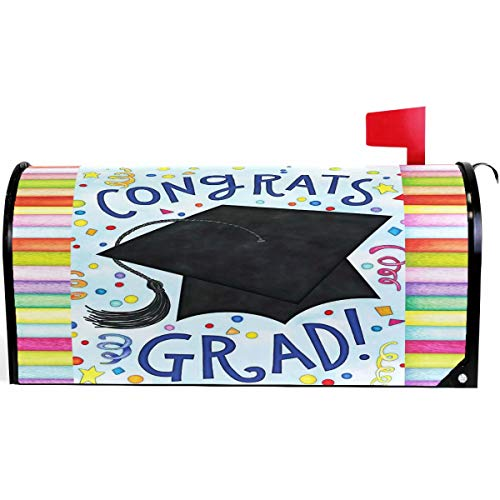 Wamika School Graduations Golden Bachelor Cap Mailbox Cover Magnetic Standard Size,Summer Congrats Letter Post Box Cover Wrap Decoration Welcome Home Garden Outdoor 21