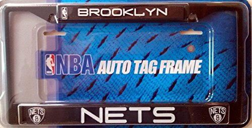 Brooklyn Nets BLACK Metal License Plate Tag Frame Cover Basketball New -