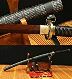 Jiang Tong imitation leather SAYA DAMASCUS FOLDED RED STEEL HANDMADE JAPANESE KATANA SWORD