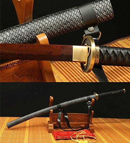 Jiang Tong Imitation Leather SAYA Damascus Folded RED Steel Handmade Japanese Katana Sword (Handmade Folded)